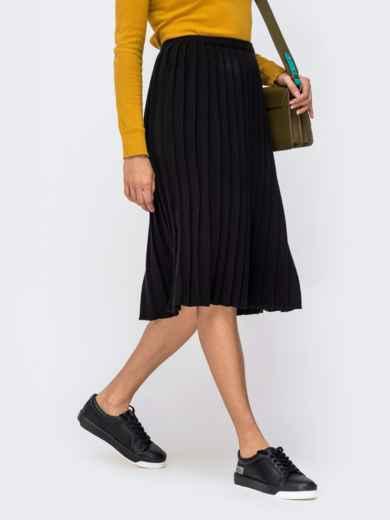 Вязаная юбка-плиссе чёрного цвета 41188, фото 2