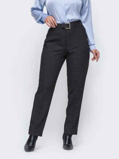 Зауженные брюки большого размера цвета графита 52473, фото 1