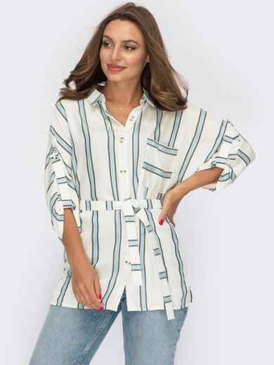 Блузка молочного цвета с голубой полоской 53903, фото 1
