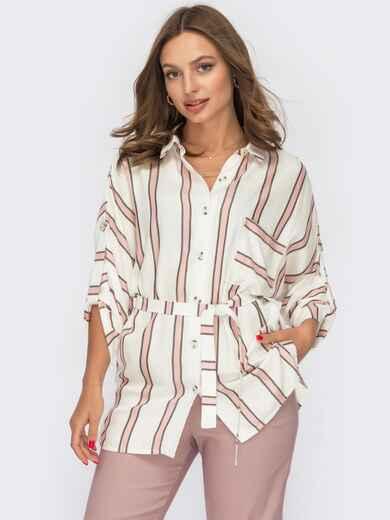 Блузка молочного цвета с розовой полоской 53904, фото 1