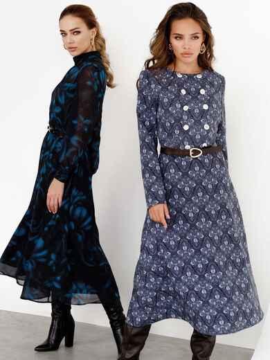 Черное платье из костюмной ткани с принтом и расклешенной юбкой 52547, фото 1