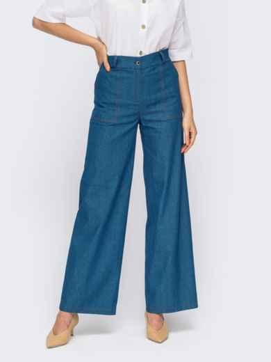 Синие джинсы с накладными карманами 54641, фото 1