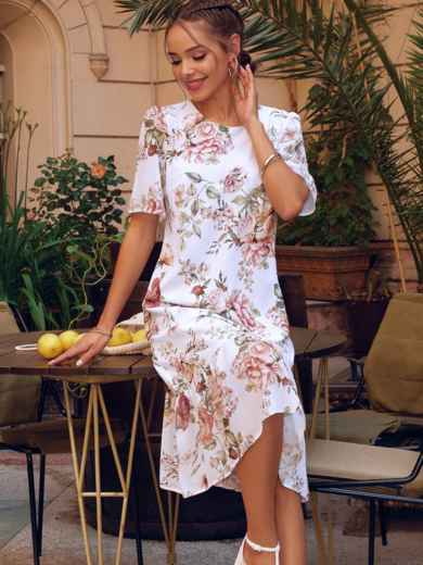 Белое платье-трапеция с принтом и рукавами из шифона 54155, фото 1