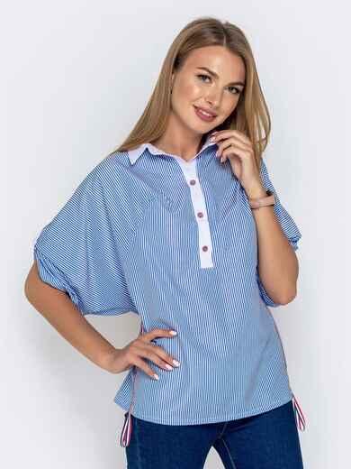 """Голубая рубашка в полоску с рукавом """"летучая мышь"""" 40839, фото 1"""