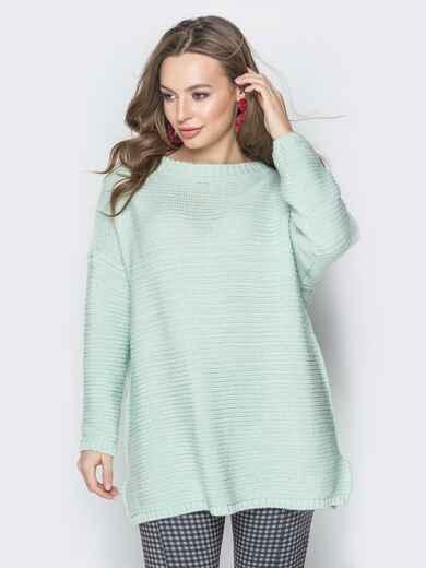 Голубой свитер oversize с вырезом по спинке и украшением - 19328, фото 1 – интернет-магазин Dressa