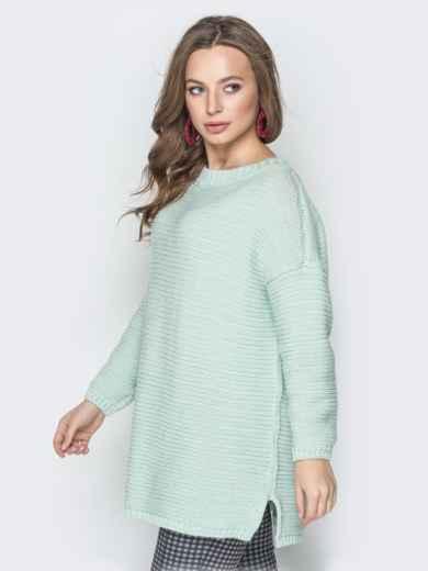 Голубой свитер oversize с вырезом по спинке и украшением - 19328, фото 2 – интернет-магазин Dressa