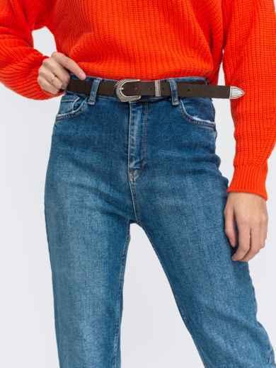 Голубые джинсы-мом с высокой посадкой и поясом - 43105, фото 2 – интернет-магазин Dressa