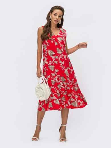 Красное платье А-силуэта с принтом и воланом по низу 54139, фото 1