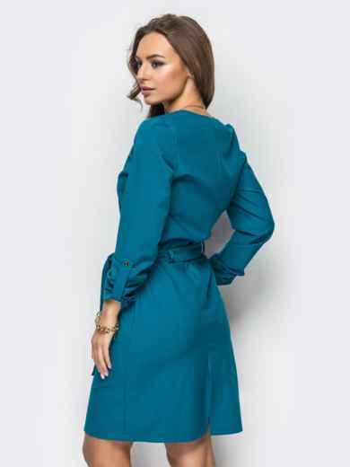 Платье из костюмной ткани с функциональными кнопками зелёное - 13474, фото 2 – интернет-магазин Dressa