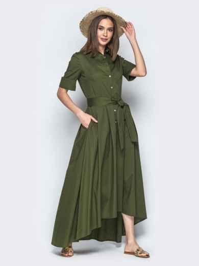 Платье-макси с удлиненной спинкой хаки 21956, фото 2