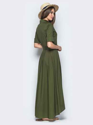 Платье-макси с удлиненной спинкой хаки 21956, фото 3
