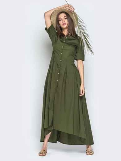 Платье-макси с удлиненной спинкой хаки 21956, фото 4