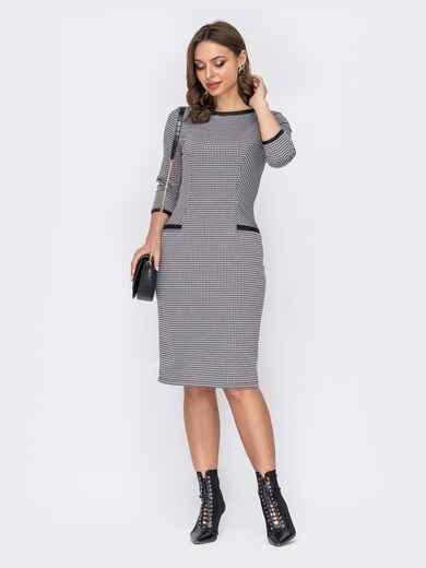 Серое платье приталенного силуєта с контрастными обтачками 52955, фото 1