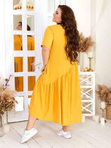 Свободное платье бльшого размера желтое 47570, фото 2