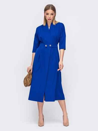 Свободное платье на запах синего цвета 45805, фото 1
