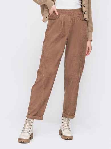 Вельветові штани коричневого кольору з високою посадкою 52900, фото 1