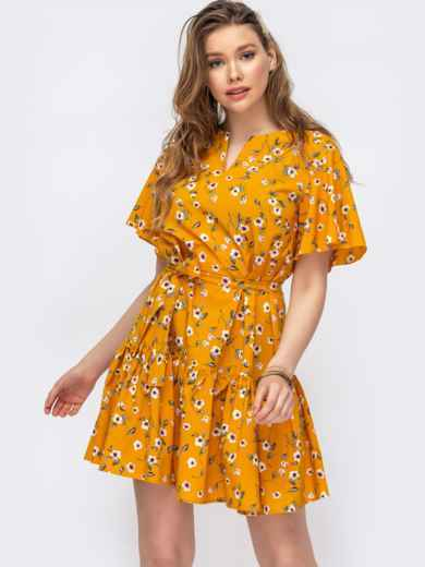 Желтое платье свободного кроя с воланом 47017, фото 1
