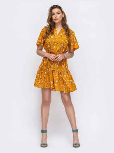 Желтое платье свободного кроя с воланом 47017, фото 2