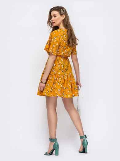 Желтое платье свободного кроя с воланом 47017, фото 3