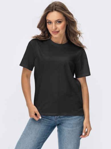 Базовая футболка прямого кроя черная 55042, фото 1