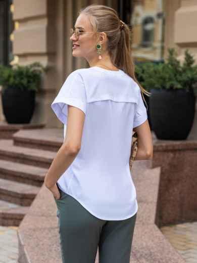 Белая блузка с цельнокроеным рукавом и V-образным вырезом 49855, фото 2