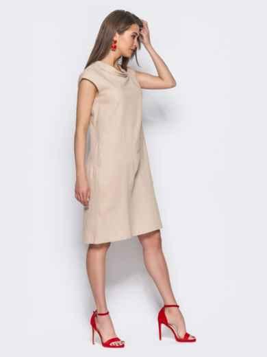 Бежевое платье из льна прямого кроя с карманами в боковых швах - 11132, фото 2 – интернет-магазин Dressa