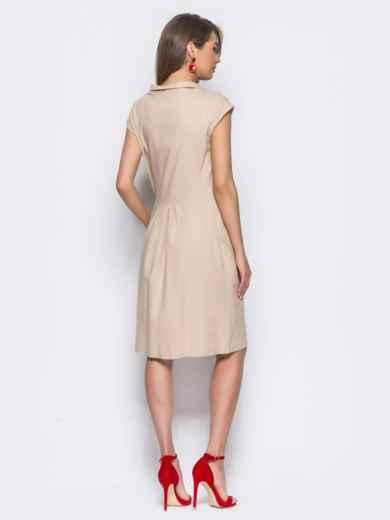 Бежевое платье из льна прямого кроя с карманами в боковых швах - 11132, фото 3 – интернет-магазин Dressa