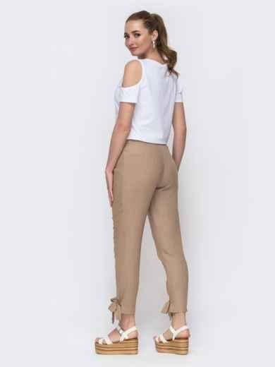 Бежевый брючный комплект с белой футболкой  - 47446, фото 2 – интернет-магазин Dressa