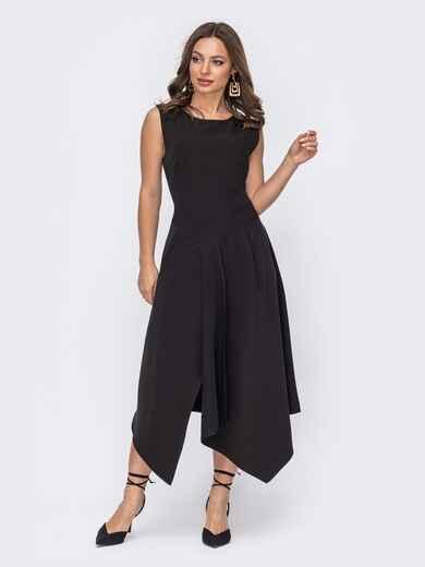 Черное платье без рукавов с асимметричной юбкой 53653, фото 1