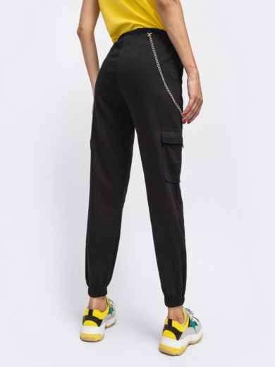 Джинсы с накладными карманами и резинкой по талии чёрные - 41899, фото 3 – интернет-магазин Dressa
