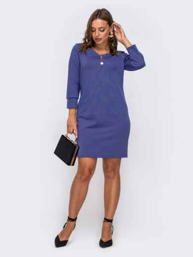 Фиолетовое платье прямого кроя с рукавом 3/4 50613, фото 1