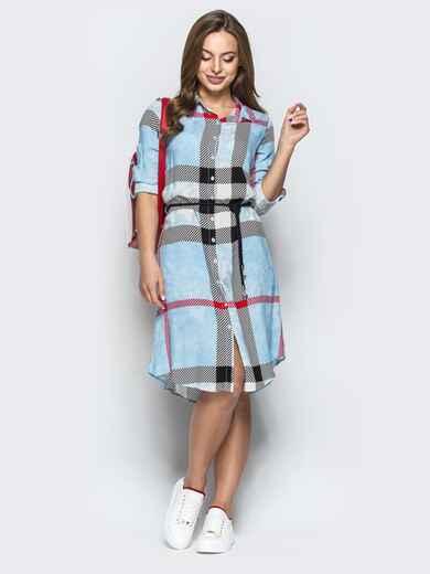 Голубое платье-рубашка в крупную клетку - 22236, фото 1 – интернет-магазин Dressa