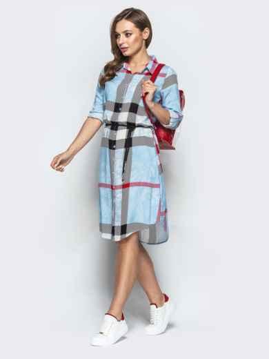 Голубое платье-рубашка в крупную клетку - 22236, фото 2 – интернет-магазин Dressa