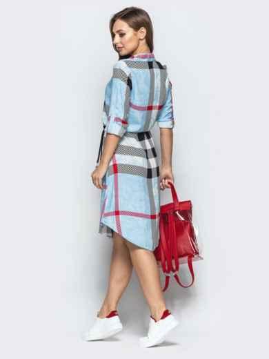 Голубое платье-рубашка в крупную клетку - 22236, фото 3 – интернет-магазин Dressa