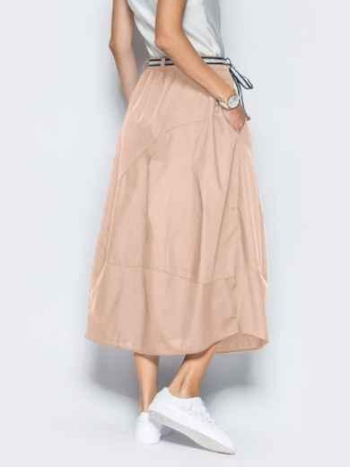 Льняная юбка бежевого цвета с карманами 39381, фото 3