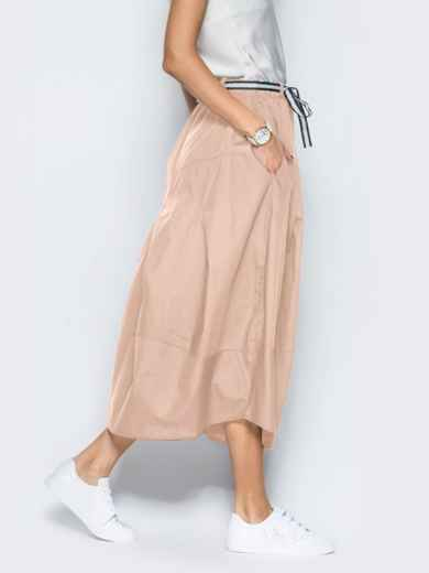 Льняная юбка бежевого цвета с карманами 39381, фото 4