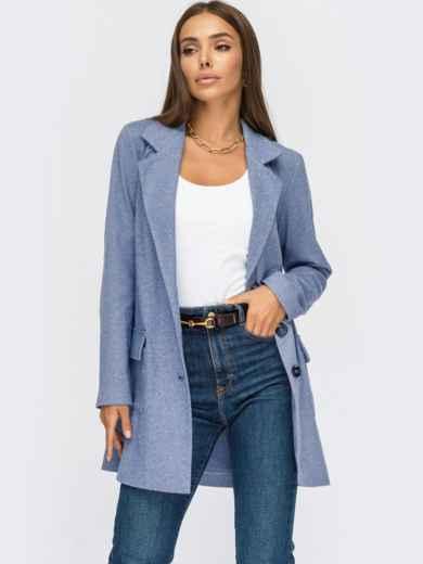 Пиджак из смесовой шерсти с накладными карманами голубой 55139, фото 1
