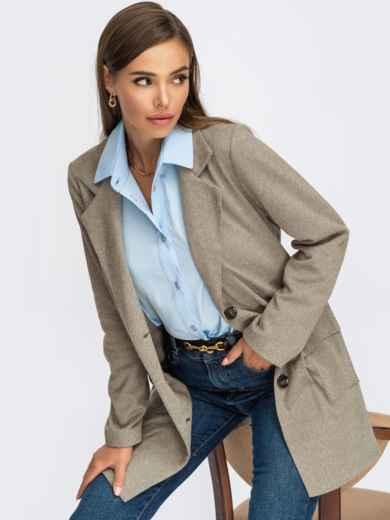 Пиджак из смесовой шерсти с накладными карманами коричневый 55140, фото 1