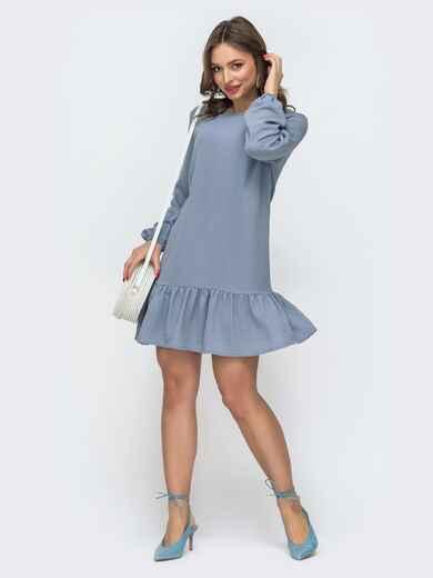 Платье свободного кроя с воланом по низу голубое 47464, фото 1