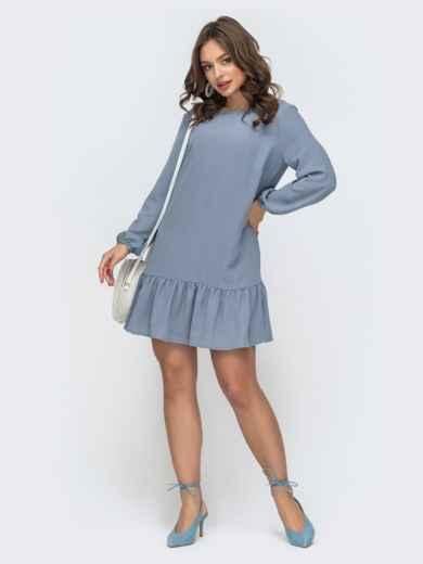 Платье свободного кроя с воланом по низу голубое 47464, фото 2