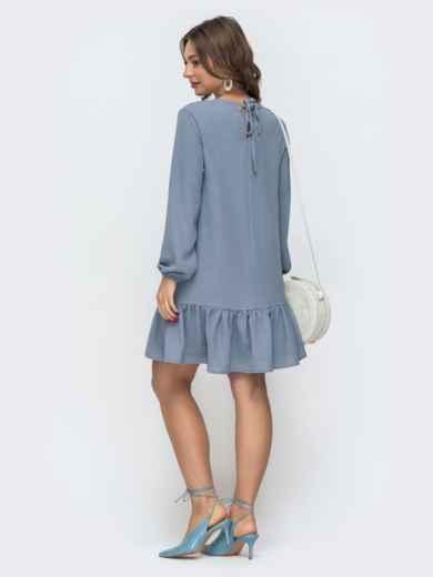 Платье свободного кроя с воланом по низу голубое 47464, фото 3