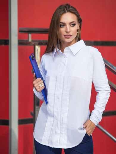 Рубашка из стрейч-коттона и рубашечной ткани белая - 14569, фото 2 – интернет-магазин Dressa