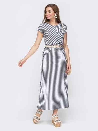 Серое платье в полосу с цельнокроеным рукавом 47455, фото 1