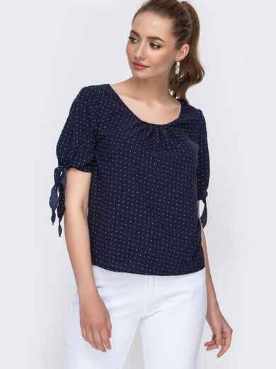 Темно-синяя блузка свободного кроя с завязками 47439, фото 1