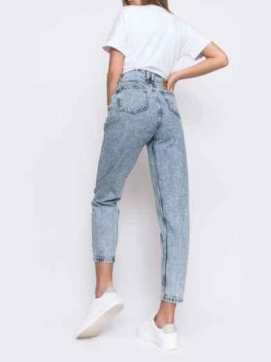 Выбеленные джинсы-бананы голубого цвета 48090, фото 3