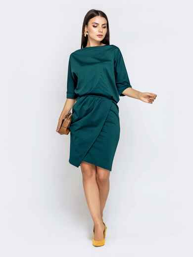 Зеленое платье с напуском по талии и юбкой-тюльпан 40789, фото 1