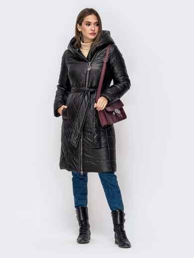 Зимняя куртка на молнии с вшитым капюшоном чёрная 41407, фото 1