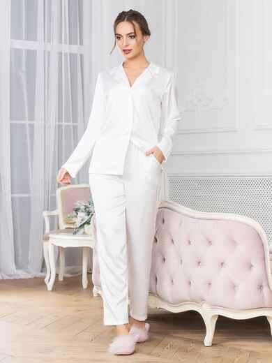Белая пижама с рубашкой и брюками - 18954, фото 1 – интернет-магазин Dressa