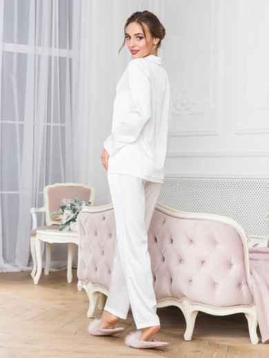 Белая пижама с рубашкой и брюками - 18954, фото 2 – интернет-магазин Dressa