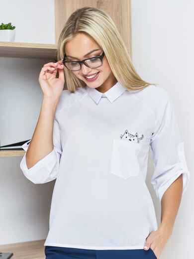 """Блузка на пуговице с вышивкой """"кот"""" 14142, фото 1"""
